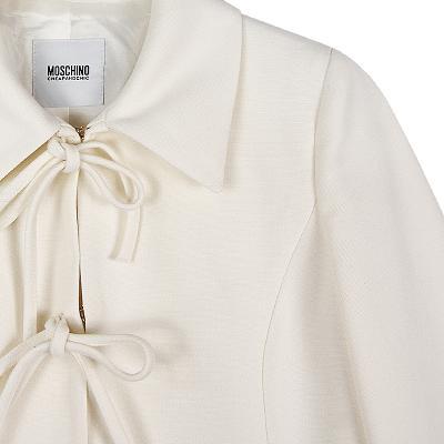 ribbon detail coat ivory